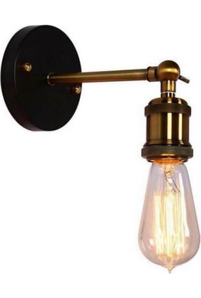 Light Home Retro Rustik Mafsallı Siyah Aplik