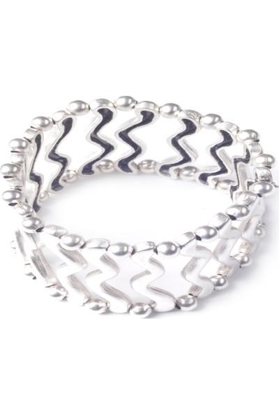 Labalaba Lbkdnagkblklk9013 Kadın Antik Gümüş Kaplama Lastikli Bileklik&Kol Aksesuarı