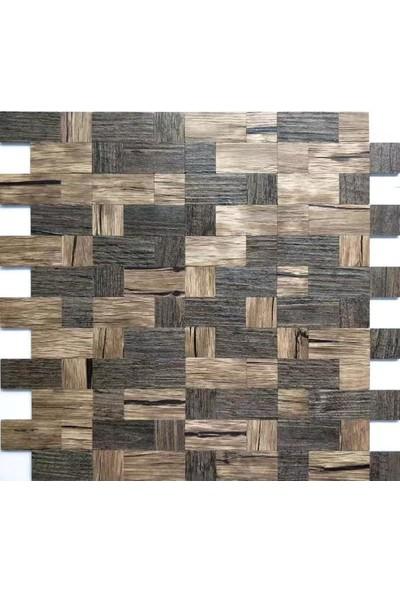 Bellagente Kendinden Yapışkanlı Square Wood Ağaç Mozaik Duvar Paneli
