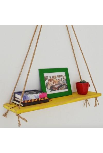 222 Concept Masif Ağaç Eskitme Sarı Renk 50x15 cm Halatlı Raf