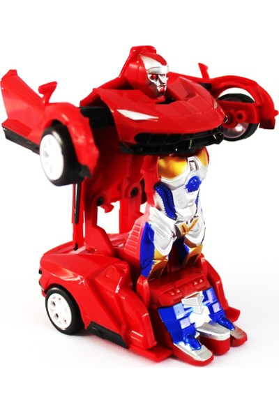 Vardem Arabaya Dönüşem Metal Robot Kırmızı Bugatti