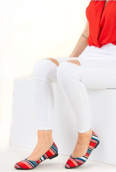 Fox Shoes KırmızıLacivert Kadın Babet F726803204