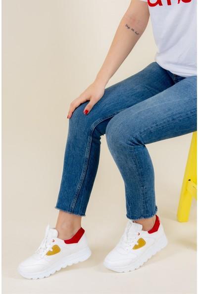 Fox Shoes BeyazKırmızıHardal Kadın Sneakers F674018709