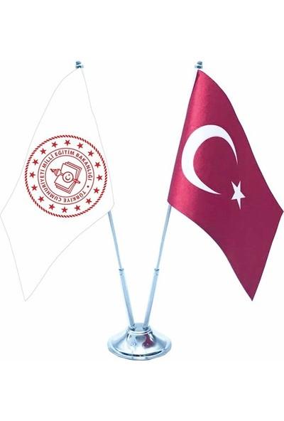 Bayrakal Milli Eğitim Yeni Logolu İkili Masa Bayrağı