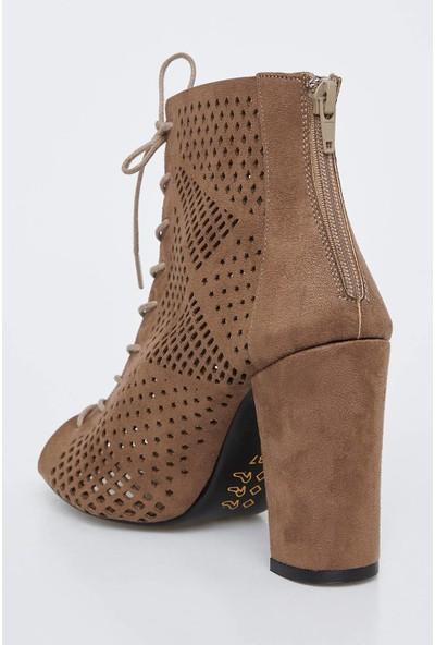 Defacto Kadın Burnu Açık Bağcıklı Topuklu Ayakkabı