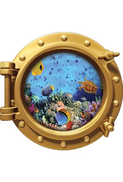 Renkselart Gemi Denizaltı Pencere Balık Mercan Resif Duvar Sticker