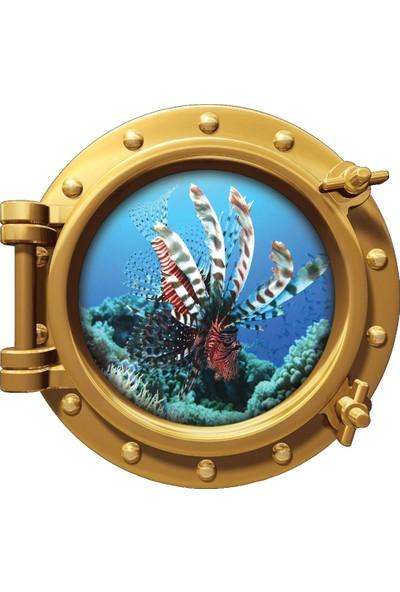 Renkselart Gemi Denizaltı Pencere Aslan Balığı Duvar Sticker