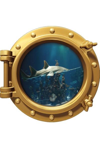 Renkselart Gemi Denizaltı Pencere Kılıç Balığı Duvar Sticker