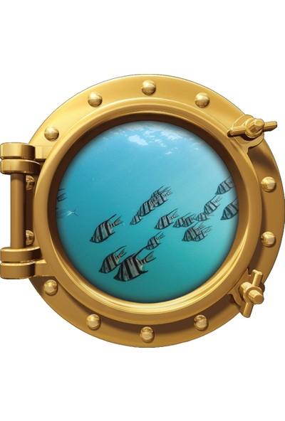 Renkselart Gemi Denizaltı Pencere Balık Sualtı Duvar Sticker
