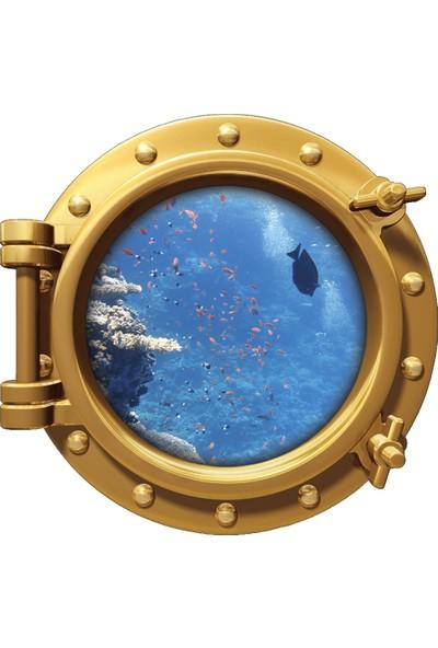 Renkselart Gemi Denizaltı Pencere Balık Su Altı Duvar Sticker