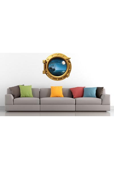 Renkselart Gemi Denizaltı Pencere Ay Mehtap Duvar Sticker