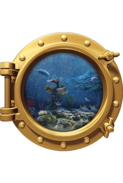 Renkselart Gemi Denizaltı Pencere Balık Çocuk Odası Duvar Sticker