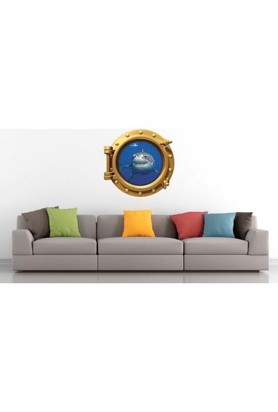 Renkselart Gemi Denizaltı Pencere Köpek Balığı Duvar Sticker