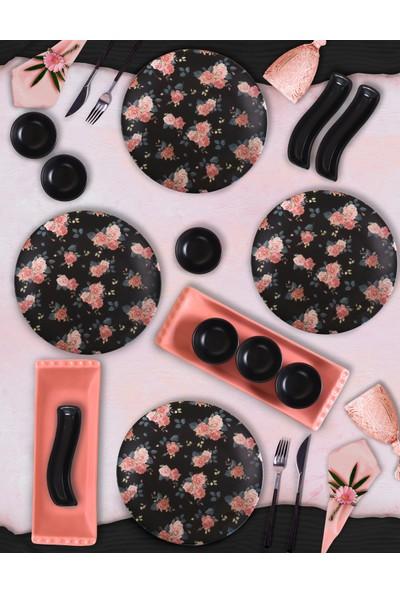 Keramika 15 Parça 4 Kişilik Kahvaltı Takımı Siyah Çiçek 18229