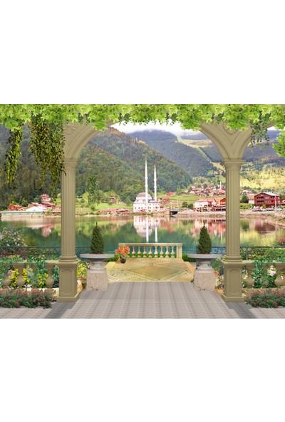 Ardeko Göl Manzara Orman Çiçekler Ve Cami Vinil Duvar Kağıdı Baskı 400 x 260 cm