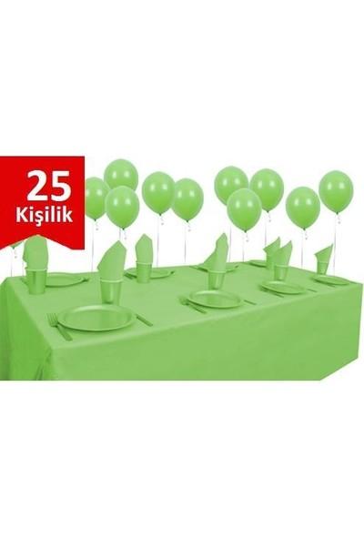 Parti Şöleni Yeşil Plastik 25 Kişilik Set