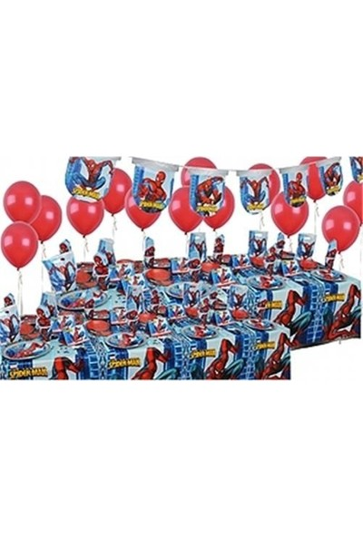 Spiderman Doğum Günü Parti Seti 24 Kişilik Süper Set