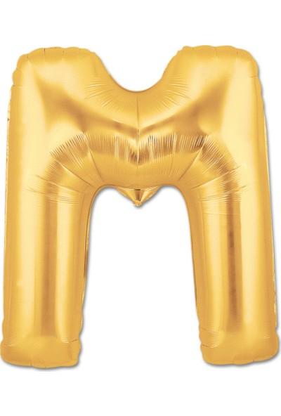 M Harfi Gold Folyo Balon 90Cm