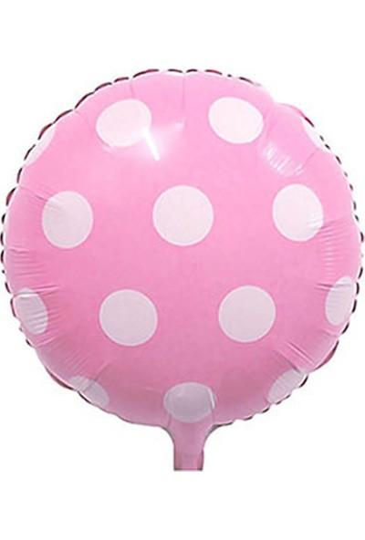 Pembe Puantiyeli Folyo Balon 43cm 2'Li