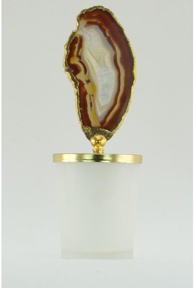 Mobisüs Akik Güz Güzeli Parlak Beyaz Bardak Altın Tepelik