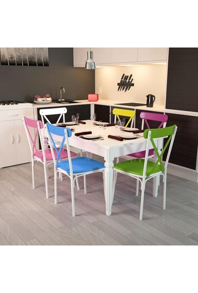 Modilayn Flora-6-Tonet-Kare-Ayaklı-Masa-Sandalye-Takımı
