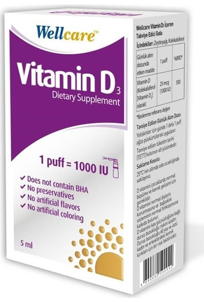 Wellcare Vitamin D3 1000 IU 5 ml