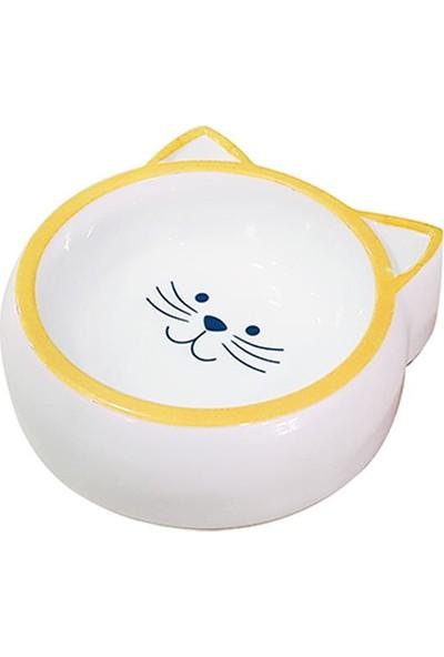 Pet Loves Melamin Mama Kabı Kedi Suratı Şeklinde Sarı 210 ml