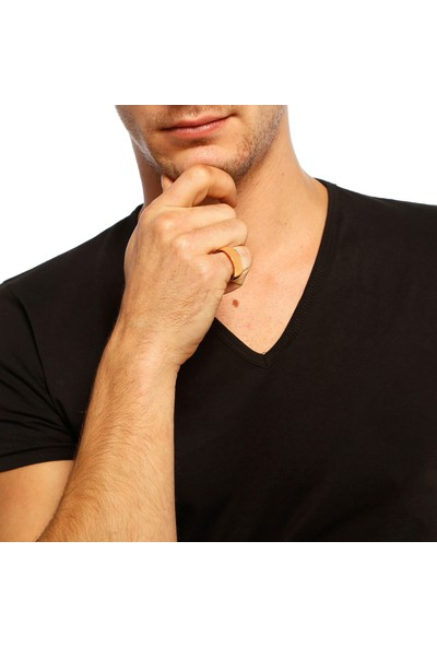 Chavin Sarı İpc Kaplama Bayan-Erkek Çelik Yüzük Dc46