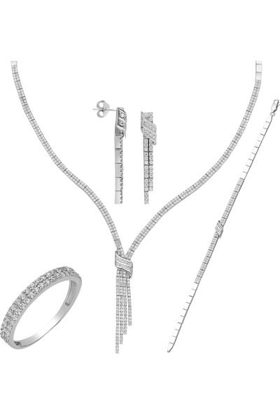 Chavin Dört Sıra Su Yolu Gümüş Kolye Küpe Bileklik Yüzük Set Dz32