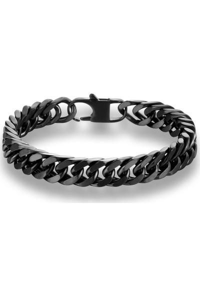 Chavin 10 Mm. Mat Siyah Çelik Erkek Bileklik Dy77-10