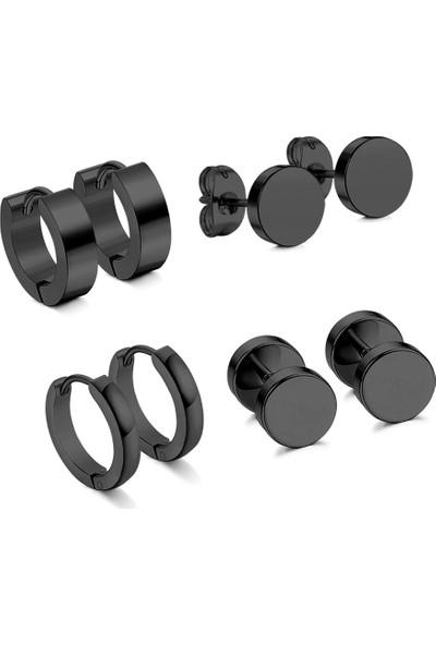 Chavin Siyah Çelik 4 Takım Unisex Küpe Dy99
