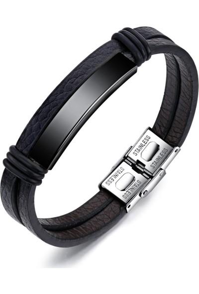 Chavin Siyah Çelik Ve Deri Çelik Erkek Bileklik Dy76Sy