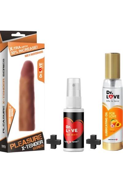 Dr. Love Realistik Penis Kılıfı+dellay Sprey+Dr.Love Kayganlaştırc