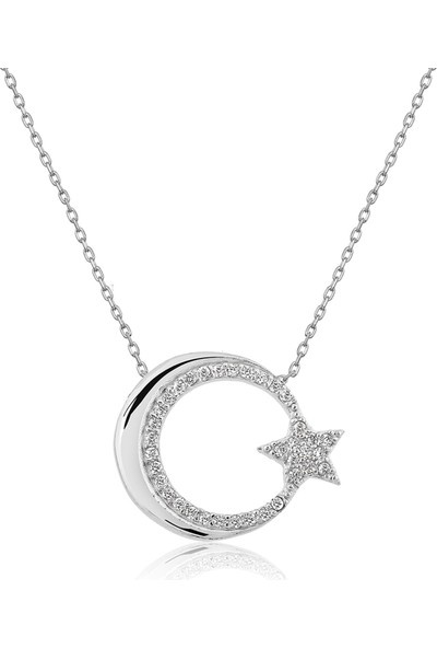 Papatya Silver Pty2000148 Ay Yıldız Kolye