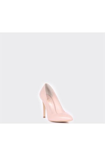 Rrm Deri Kadın Pudra Stiletto Topuklu Klasik Ayakkabı