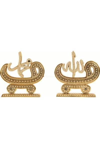 Derkan Vav Allah-Muhammed Lafzı Swaroski Taşlı Biblo Altın