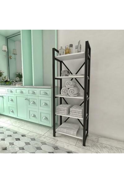 Evdemo Berra Metal Çok Amaçlı Banyo Rafı Beyaz