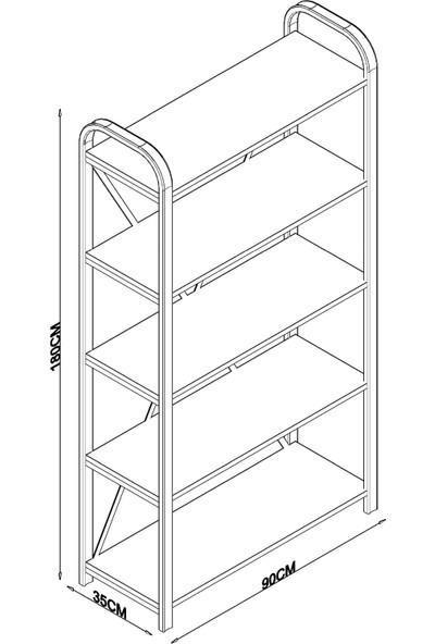 Evdemo Erciyes 5 Raflı Metal Kitaplık Beyaz