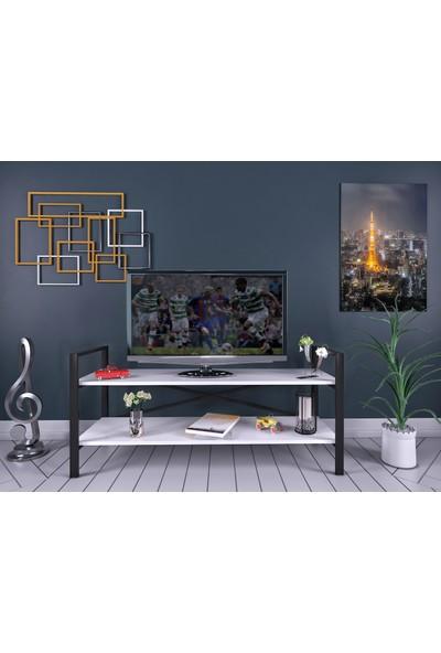 Evdemo İkra Metal Tv Sehpası Beyaz