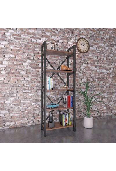 Evdemo Ottoman 5 Raflı Metal Kitaplık Ceviz