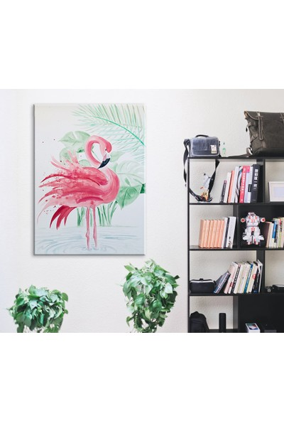 Meteor Galeri Pembe Flamingo Dekoratif Kanvas Tablo