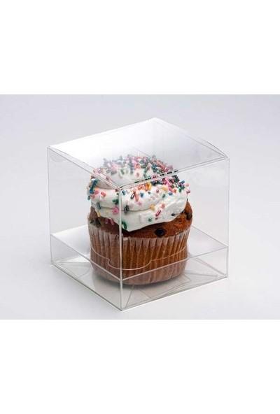 Falbelo Cupcake için Tabanlıklı Asetat Kutu 6 x 6 x 6 Beyaz