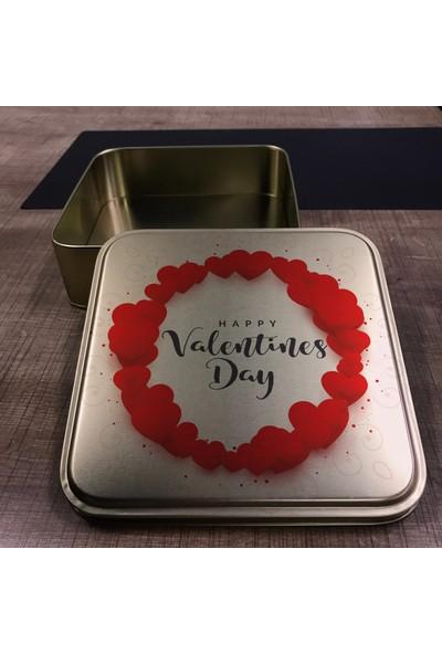 "Falbelo ""Sevgililer Günü"" Temalı Teneke Metal Kutu Kare 19,5 x 19,5 x 6"