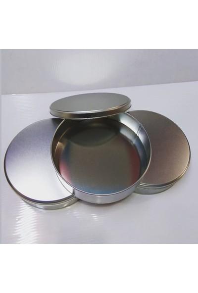 Falbelo Yuvarlak Metal Teneke Kutu Çap: 17,4 cm h: 4 cm Gümüş