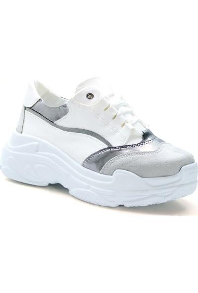 Cushy Mystery Beyaz Gümüş Kadın Sneaker
