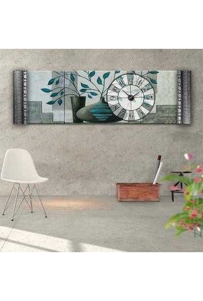 Dekoratifmarket R- Turkuaz Çiçek Duvar Saati- Kabartma Çerçeveli Saatli Kanvas Tablo