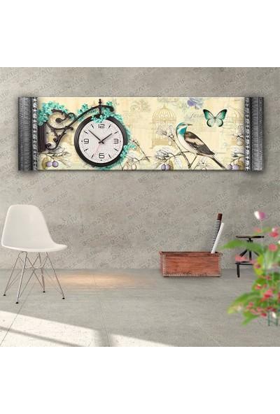 Dekoratifmarket Kuş Resimli Çiçekli Duvar Saati- Kabartma Çerçeveli Saatli Kanvas Tablo
