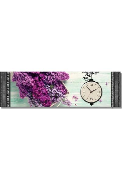Dekoratifmarket 5 cm Kabartma Çerçeveli Duvar Saati-Leylaklar Kanvas Tablo