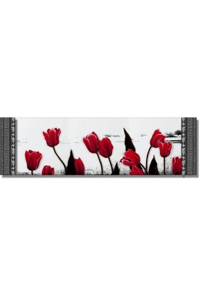 Dekoratifmarket 5 cm Kabartma Çerçeveli Duvar Saati-Kırmızı Laleler Kanvas Tablo
