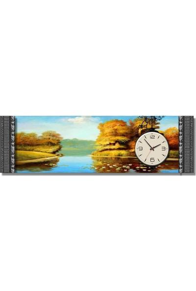 Dekoratifmarket 5 cm Kabartma Çerçeveli Duvar Saati-Göl Manzara Kanvas Tablo